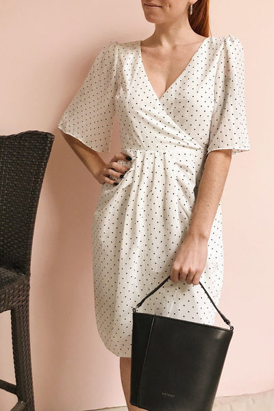 Asceline White Short Dress w/ Polka Dots | Boutique 1861 on model