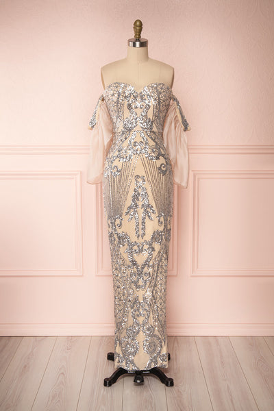 Asteria Mermaid Sequin Gown | Robe Sirène | Boutique 1861 front view with sleeves