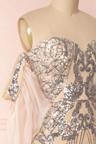 Asteria Mermaid Sequin Gown | Robe Sirène | Boutique 1861 side close-up