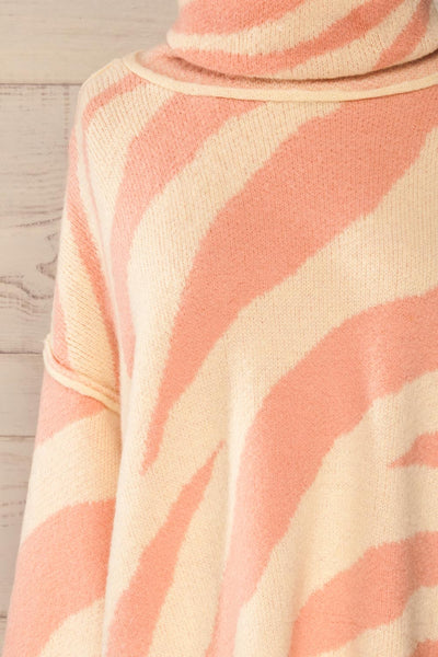 Athena Pink Zebra Print Sweater | La petite garçonne front close-up