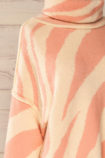 Athena Pink Zebra Print Sweater | La petite garçonne side close-up