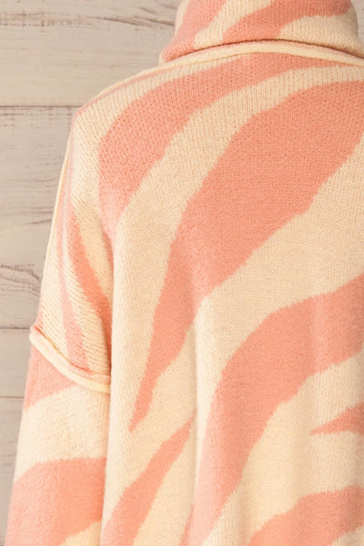 Athena Pink Zebra Print Sweater | La petite garçonne back close-up