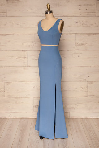 Athenia Blue Top & Skirt Set side view | La Petite Garçonne Chpt. 2