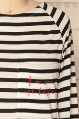 Athus Black & White Striped Long Sleeves Top | La Petite Garçonne