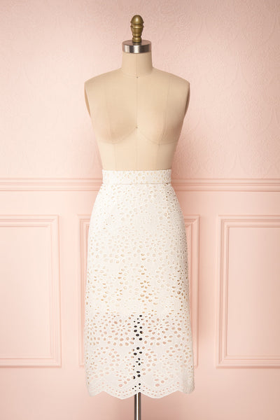 Aubane Cream Lace Midi Skirt w/ Back Slit | Boutique 1861 front view