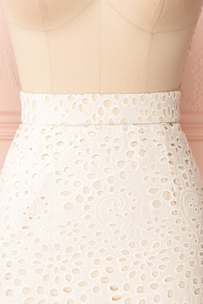Aubane Cream Lace Midi Skirt w/ Back Slit | Boutique 1861 front close-up