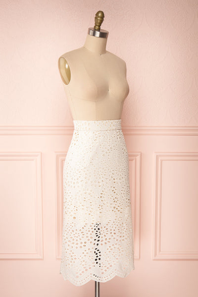 Aubane Cream Lace Midi Skirt w/ Back Slit | Boutique 1861 side view