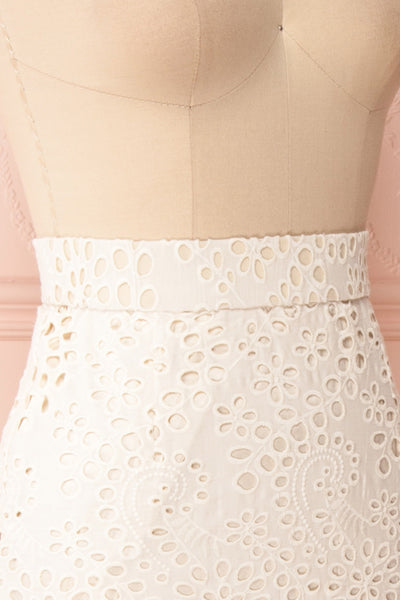Aubane Cream Lace Midi Skirt w/ Back Slit | Boutique 1861 side close-up