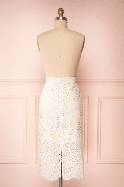 Aubane Cream Lace Midi Skirt w/ Back Slit | Boutique 1861 back view