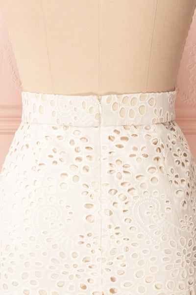 Aubane Cream Lace Midi Skirt w/ Back Slit | Boutique 1861 back close-up