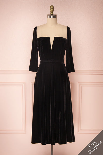 Augustina Black Velvet Midi A-Line Dress | Boutique 1861  front view