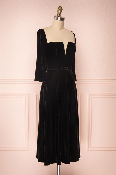Augustina Black Velvet Midi A-Line Dress | Boutique 1861  side view