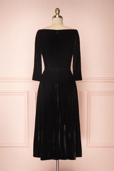 Augustina Black Velvet Midi A-Line Dress | Boutique 1861  back view