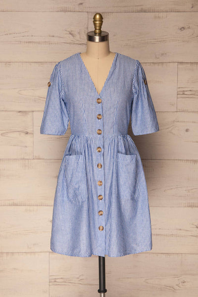 Augustow Blue & White Buttoned A-Line Dress | La Petite Garçonne 1