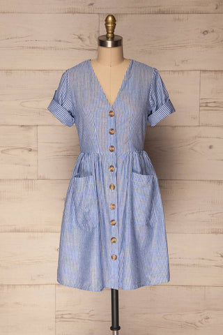 Augustow Blue & White Buttoned A-Line Dress | La Petite Garçonne 3