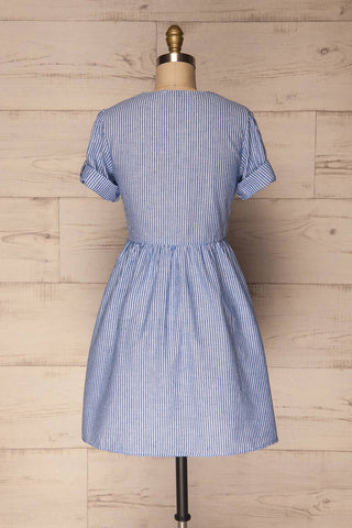 Augustow Blue & White Buttoned A-Line Dress | La Petite Garçonne 7