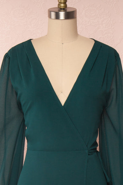 Aurelie Émeraude Green Maxi Wrap Dress | Boutique 1861 front close-up