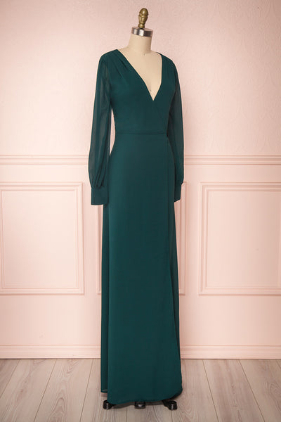Aurelie Émeraude Green Maxi Wrap Dress | Boutique 1861 side view
