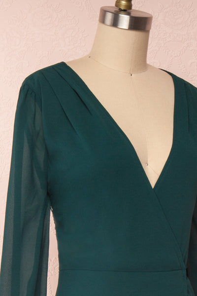 Aurelie Émeraude Green Maxi Wrap Dress | Boutique 1861 side close-up