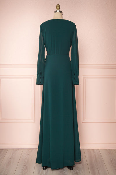 Aurelie Émeraude Green Maxi Wrap Dress | Boutique 1861 back view