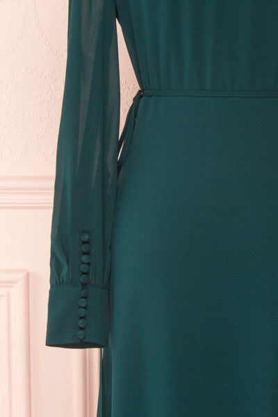 Aurelie Émeraude Green Maxi Wrap Dress | Boutique 1861 sleeve close-up