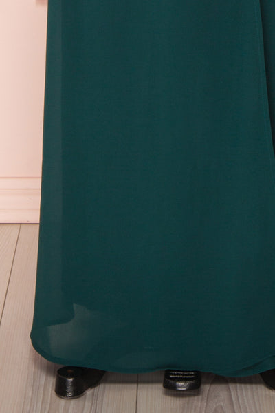 Aurelie Émeraude Green Maxi Wrap Dress | Boutique 1861 bottom close-up