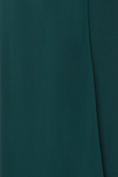 Aurelie Émeraude Green Maxi Wrap Dress | Boutique 1861 fabric detail