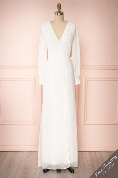 Aurelie Ivoire White Maxi Wrap Dress | Boutique 1861 front view