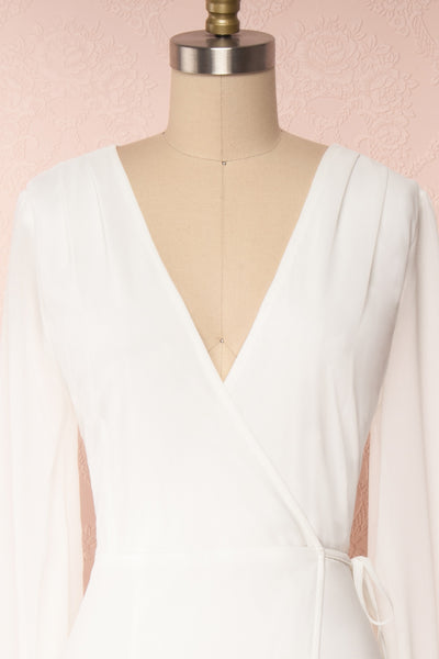 Aurelie Ivoire White Maxi Wrap Dress | Boutique 1861 front close-up