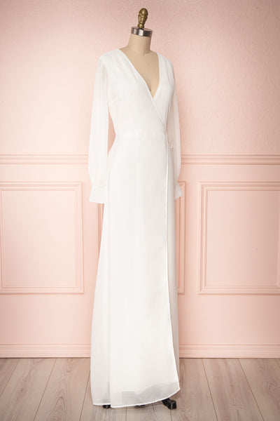 Aurelie Ivoire White Maxi Wrap Dress | Boutique 1861 side view