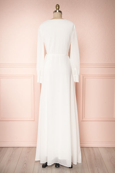Aurelie Ivoire White Maxi Wrap Dress | Boutique 1861 back view
