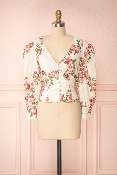 Aureole White Floral Button-Up Blouse | Boutique 1861 front view