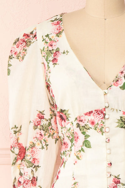 Aureole White Floral Button-Up Blouse | Boutique 1861 front close-up