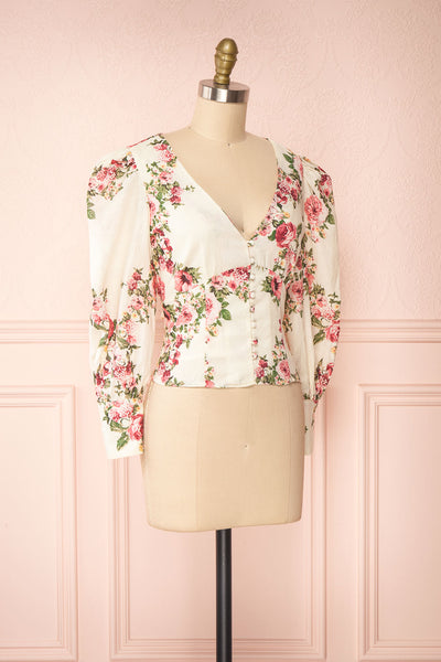Aureole White Floral Button-Up Blouse | Boutique 1861 side view