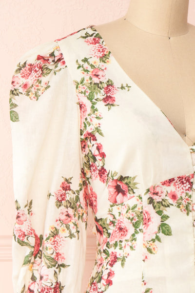 Aureole White Floral Button-Up Blouse | Boutique 1861 side close-up