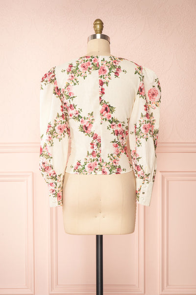 Aureole White Floral Button-Up Blouse | Boutique 1861 back view