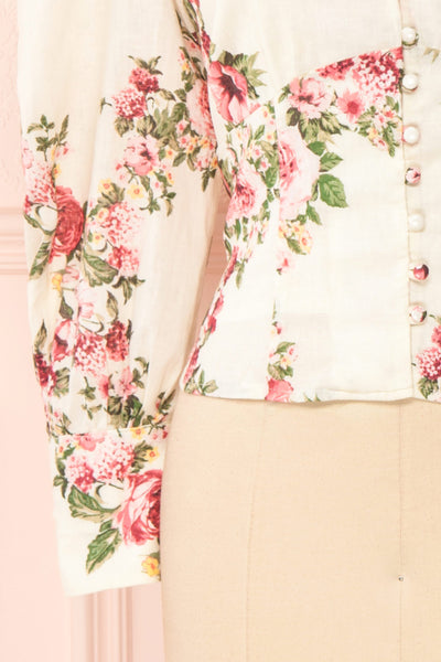 Aureole White Floral Button-Up Blouse | Boutique 1861 bottom