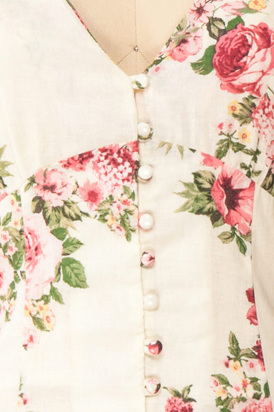 Aureole White Floral Button-Up Blouse | Boutique 1861 fabric