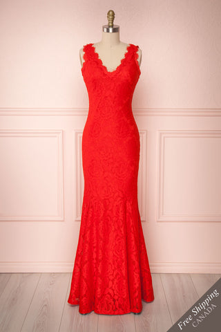 Aurnia Red Lace Plunging Neckline Mermaid Gown | Boudoir 1861