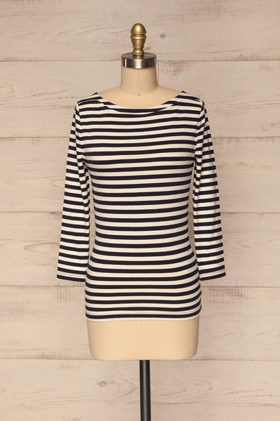 Austad Rain Navy Blue & White Striped Top | La Petite Garçonne 1