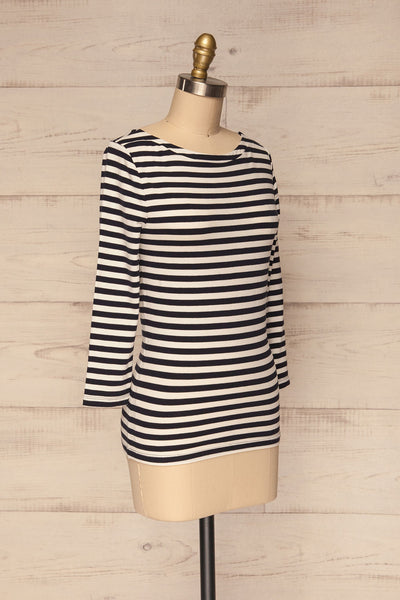 Austad Rain Navy Blue & White Striped Top | La Petite Garçonne 3
