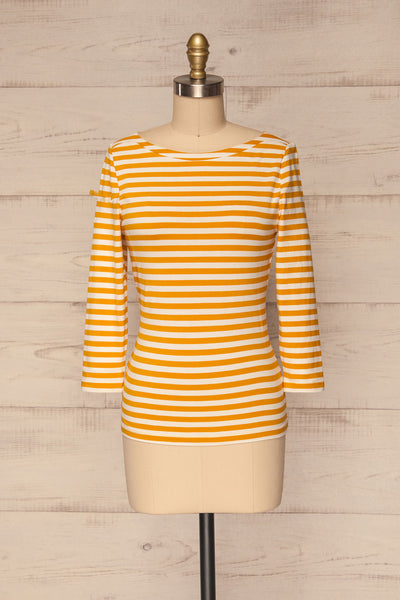 Austad Sun Mustard Yellow & White Striped Top | La Petite Garçonne 1