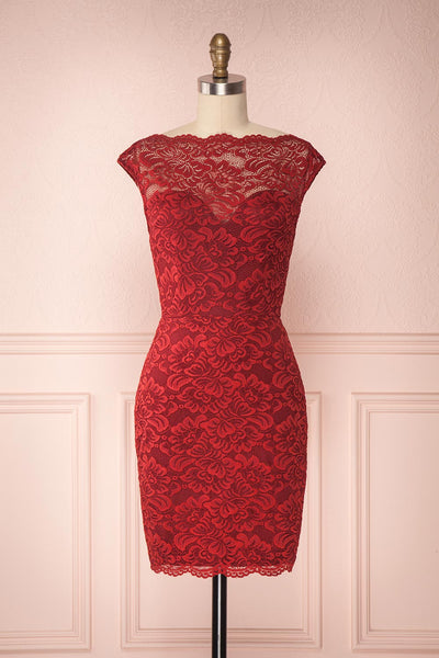 Ava Bourgogne Burgundy Lace Fitted Cocktail Dress | Boutique 1861