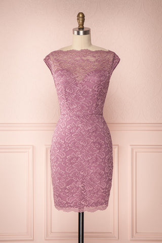 Ava Lilas Lilac Lace Fitted Cocktail Dress | Boutique 1861