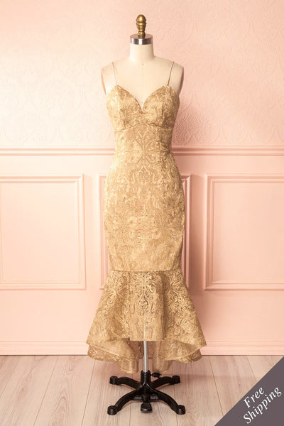 Avera Gold Mermaid Tulle Dress with Embroideries | Boutique 1861 1