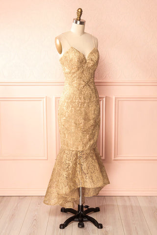 Avera Gold Mermaid Tulle Dress with Embroideries | Boutique 1861 3