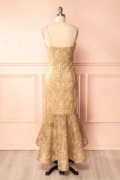 Avera Gold Mermaid Tulle Dress with Embroideries | Boutique 1861 5