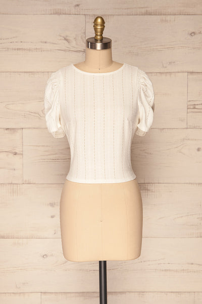 Aversa White Openwork T-Shirt with Open Back | La Petite Garçonne front view