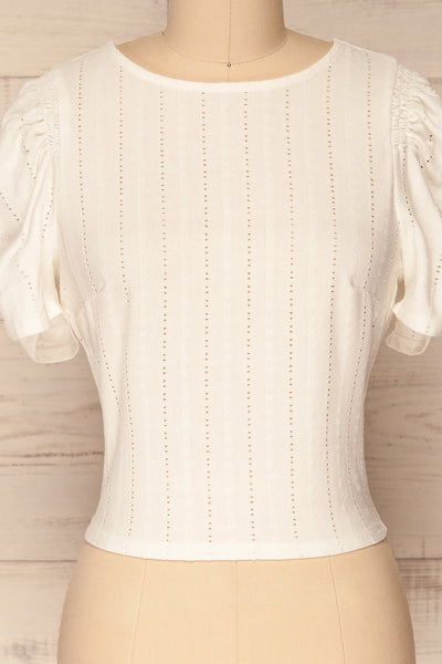Aversa White Openwork T-Shirt with Open Back | La Petite Garçonne front close-up