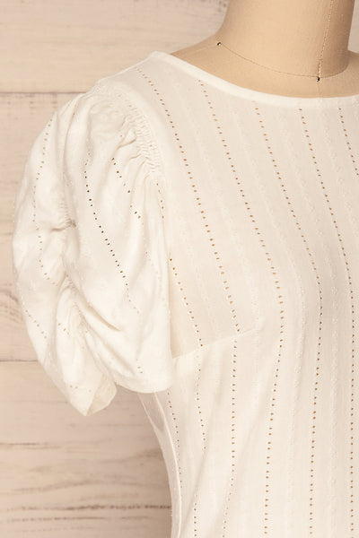 Aversa White Openwork T-Shirt with Open Back | La Petite Garçonne side close-up
